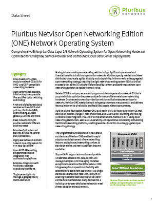Pluribus Netvisor Open Networking Edition (ONE) Network Operating System