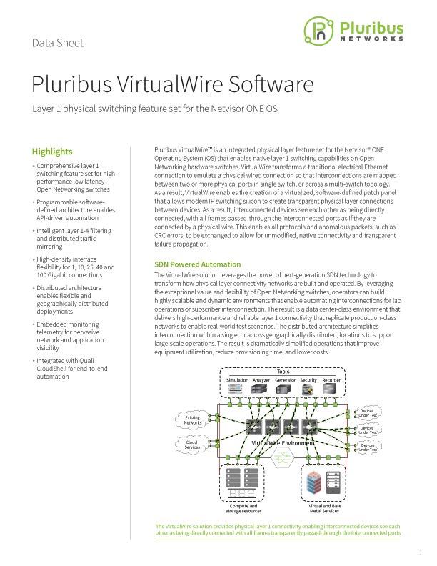 Pluribus VirtualWire Software Data Sheet