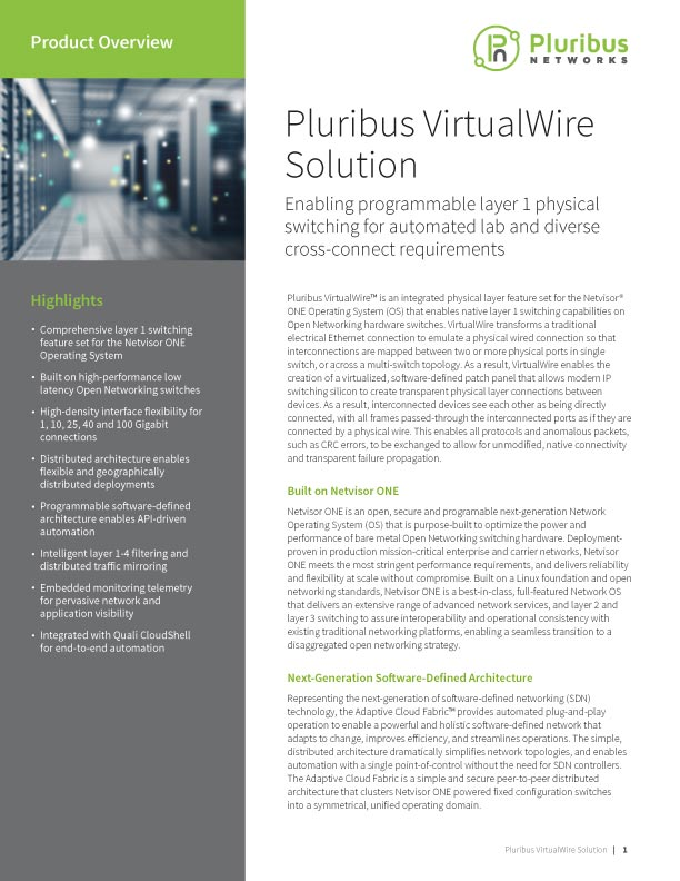 Pluribus VirtualWire Solution - Product Overview