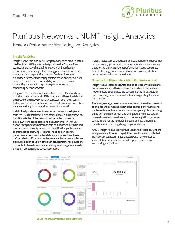 Pluribus Networks UNUM Insight Analytics Data Sheet