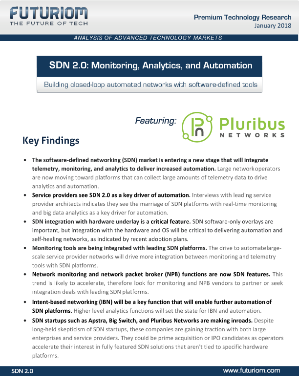 Futuriom SDN 2.0: Monitoring, Analytics, and Automation
