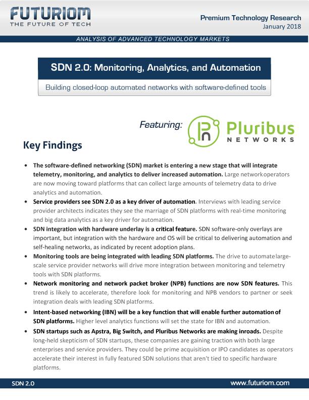 Futuriom SDN 2.0: Monitoring, Analytics, and Automation