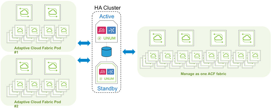 Diagram: UNUM Fabric Manager with High Availability