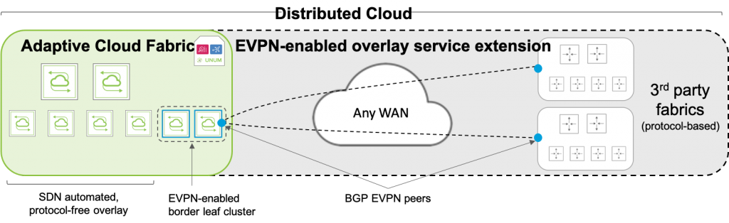 diagram: Multi-vendor Interoperability Using Open Fabric Extension with EVPN