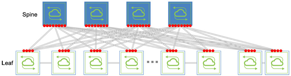 diagram: 64 IPv4 addresses required for four spine and 8 leaf switches without BGP Unnumbered