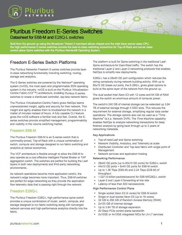 pluribus freedom e-series data sheet thumbnail